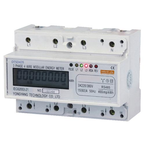 三相导轨式电能表 电度表的接线和原理