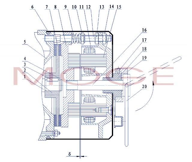 组件(8)和制动器安装座(5)分离
