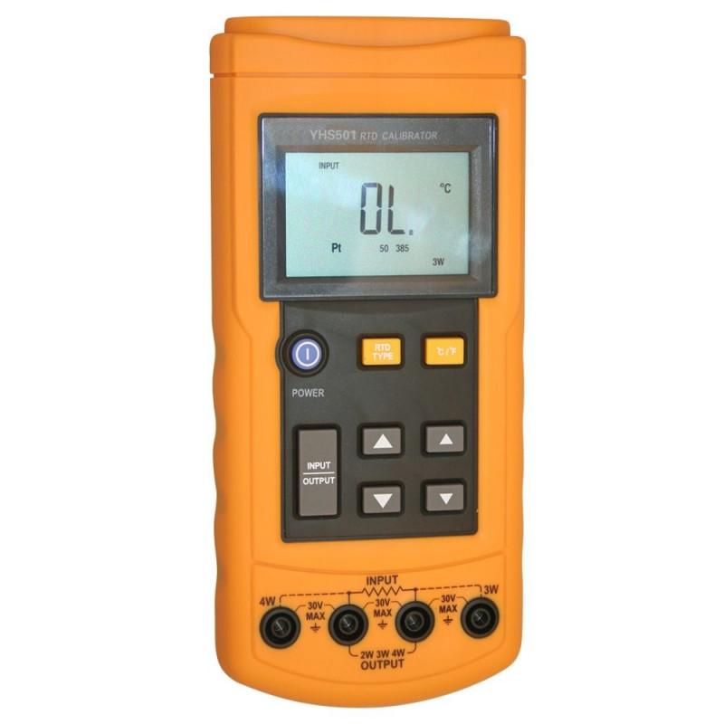 YHS501热电阻 ( RTD) 校准仪是一个用来校正 RTD (测温电阻体) 变送器(包括大部分脉冲变送器)的手提工具。它能模拟并测量多种不同类型的 RTD(以 °C 或 °F 为单位)。同时它也能模拟并测试电阻。 特点: 温度测量(RTD) 模拟RTD输出 可测量或模拟7种RTD 模拟其它RTD利用欧姆输出源 可选择ºF 或 ºC 技术指标: 测量/模拟RTD或欧姆: 量程:0 Ω to 3200 Ω 分辨率:0.