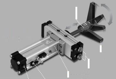smc伸摆气缸是由直线旋转装置紧集加一个细长的圆柱体和一个旋转致动图片