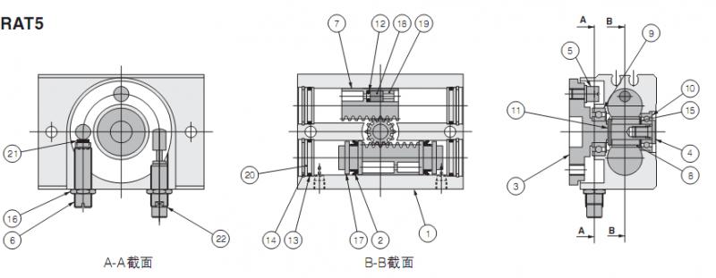 小金井摆动气缸内部结构图