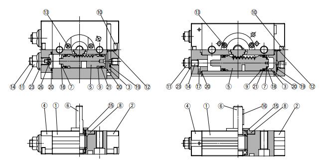 smc摆动气缸内部结构图,smc摆动气缸结构图图片