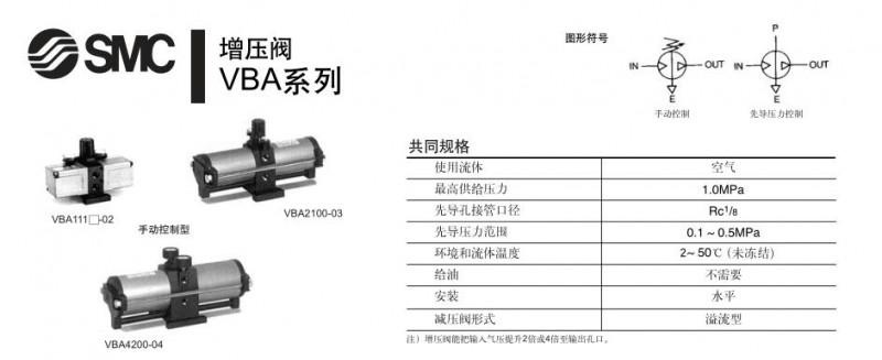 日本SMC增压阀VBA系列(图) 注1)流量条件-VBA1110:进=出=1.0MPa, VBA1111、VBA200、VBA400: 进=出=0.5MPa 注2)每只SMC增压阀需要压力表2个 注3)气容规格及尺寸图. SMC增压阀是一种可将液压传动系统中的低压油按比例转化为高压油的SMC增压阀,属液压传动领域。它是由阀体、增压器以及液动换向阀等构成。通过阀体中的进、回油道,控制油孔以及泄油阀的配合,将增压器和液动换向阀有机的结合在一起。该SMC增压阀的显著特点在于:是靠泵源压力促使增压器与液动换向