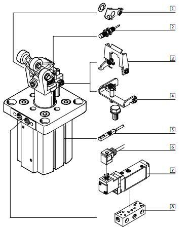 festo止动气缸工作步骤,产品代号543730