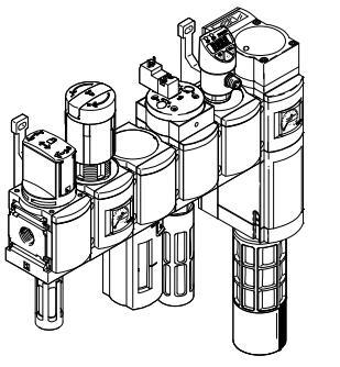 手动开关阀 + 过滤调压器 + 分支模块 + 压力传感器