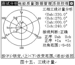本界面用来对三相三线高压计量装置进行接线分析判断,图中可见:左图片